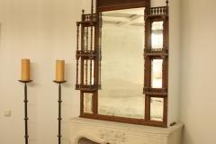 Open Boley gashaard, natuurstenen schouw, antieke ornamentale spiegel